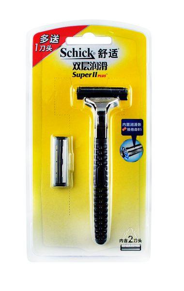 舒适双层润滑剃须刀架(含1刀片)+送一刀片