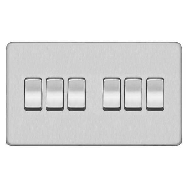 Screwless Flat Profile 6G 2Way 10AX Plate Switch