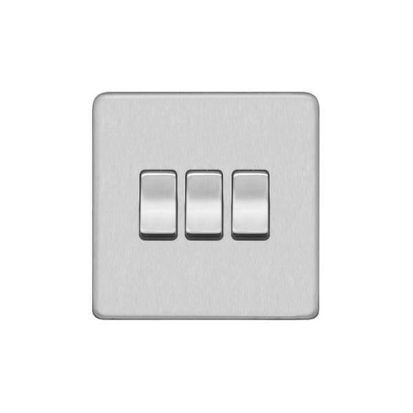 Screwless Flat Profile 3G, 2Way 10AX Plate Switch