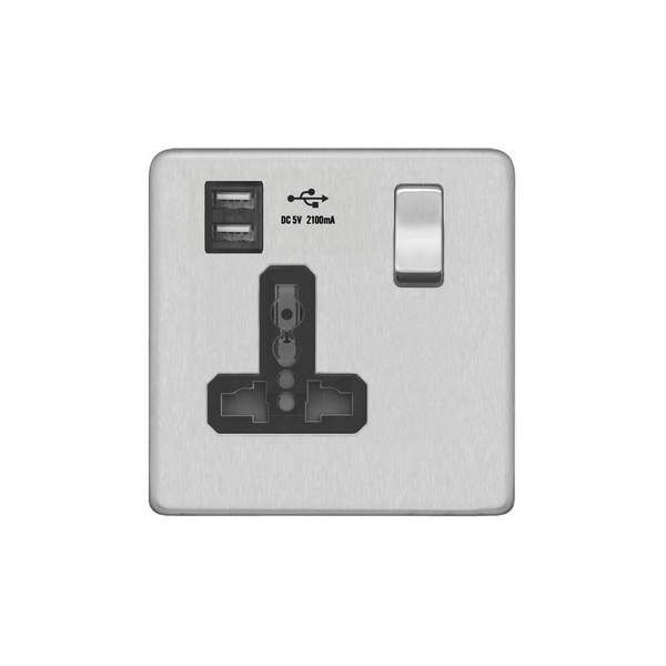 Screwless Flat Profile 1G Universal Switched Socket – SP with 2.4A Dual USB Charger