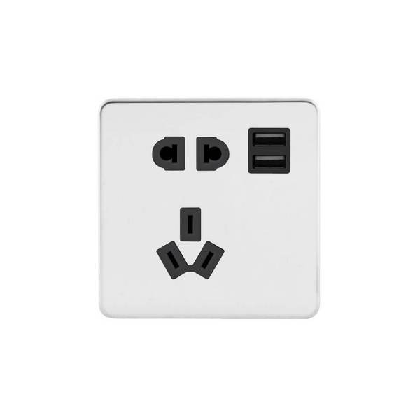 Screwless Flat Profile 10A CCC Socket with USB Charger