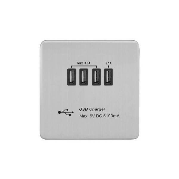 Screwless Flat Profile 5.1A USB Socket Outlet with 5.1A Quad USB Charger