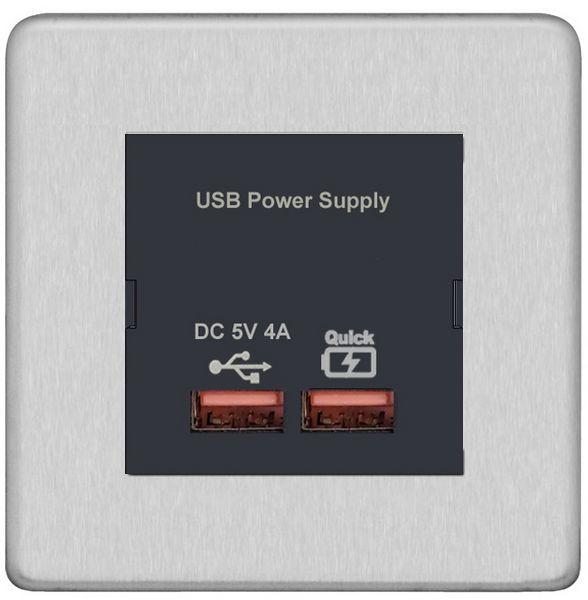 Screwless Flat Profile - Fast USB Charge Modular