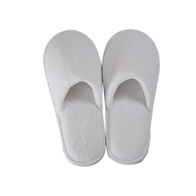 一次性酒店拖鞋100%棉白色珊瑚绒封闭脚趾室内EVA酒店拖鞋