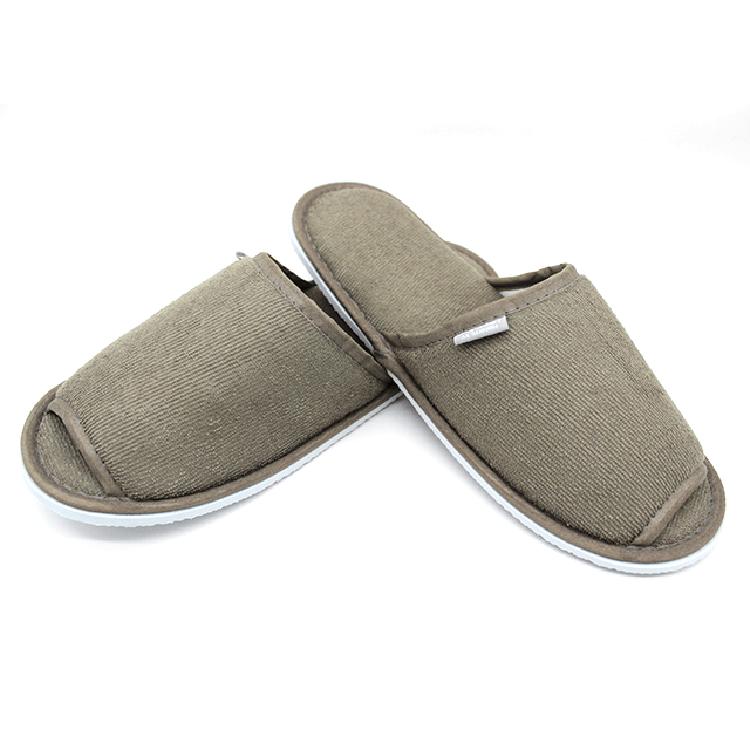酒店宾馆旅游家庭待客可定制LOGO半包毛巾布一次性拖鞋